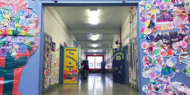 Decorated school hallway.